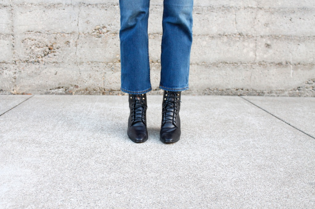 The bulging laces are a nod to the name of the shoes: granny boots