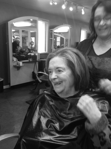 Grandma getting her haircut, as we humans do hundreds of times over the course of our lives